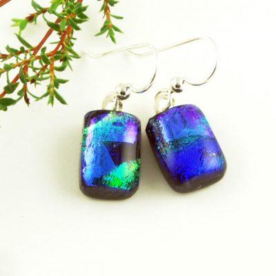 Blue Dichroic Earrings I