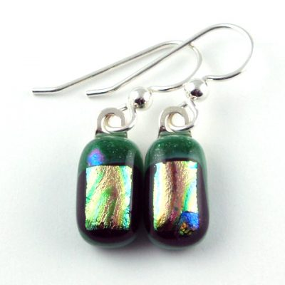 Dark Green Dichroic Earrings