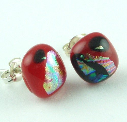 Red Dichroic Post Earrings
