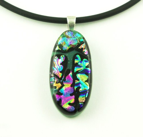 Carved Small Oval Dichroic Pendant I