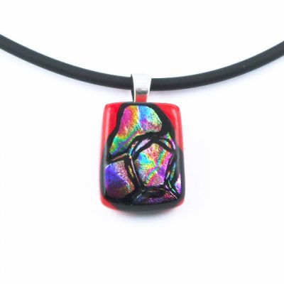 Carved Red Mini Dichroic Pendant I