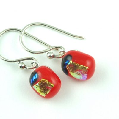 Red Mini Dichroic Earrings