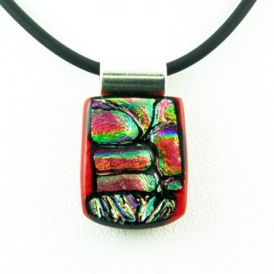 Carved Red Dichroic Pendant