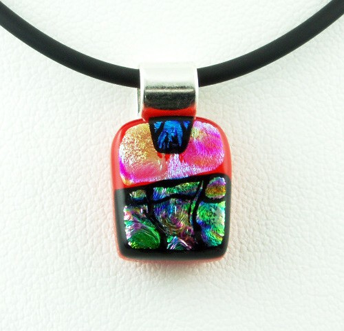 Carved Red Mini Dichroic Pendant