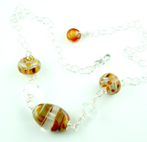Fancy Charm Necklace, Amber
