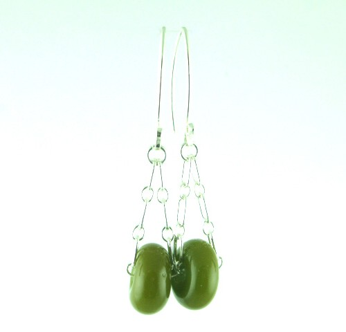 Charm Earrings, Olive