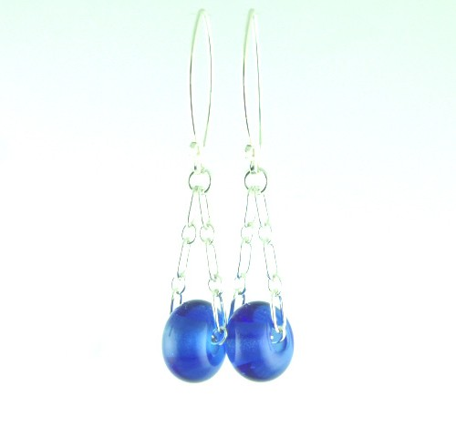 Charm Earrings, Cobalt