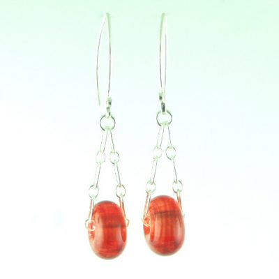 Charm Earrings, Lt. Red