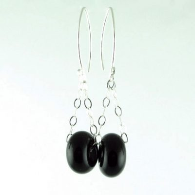 Charm Earrings, Onyx