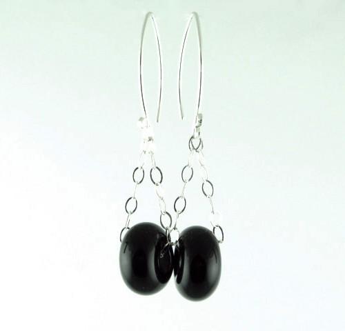 Charm Earrings, Onyx
