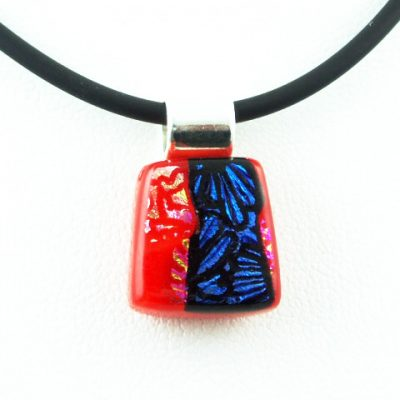 Carved Red Mini Dichroic Pendant III