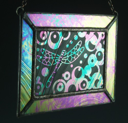 Dragonfly Stained Glass Mini Window, Medium