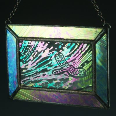 Dragonfly III Stained Glass Mini Window, Medium