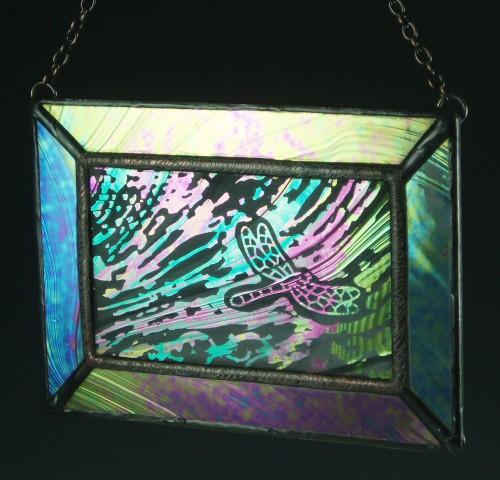Dragonfly III Stained Glass Mini Window, Medium
