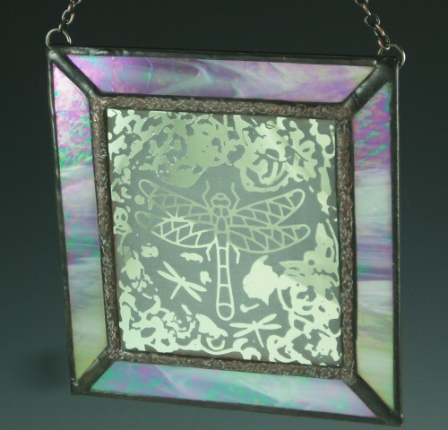 Free-form Dragonfly, Stained Glass Mini Window
