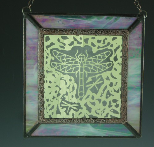 Free-form Dragonfly, Stained Glass Mini Window II
