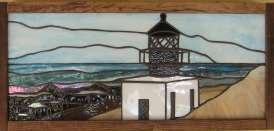Custom Stained Glass Lighthouse created by Artist Michelle Copeland at ThistleGlass.com