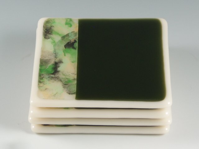 Dawn Green fused glass coaster set by Artist Michelle Copeland at ThistleGlass.com