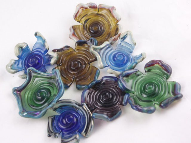 Flowers - Lampwork Glass - Designed by Artist Michelle Copeland at ThistleGlass.com
