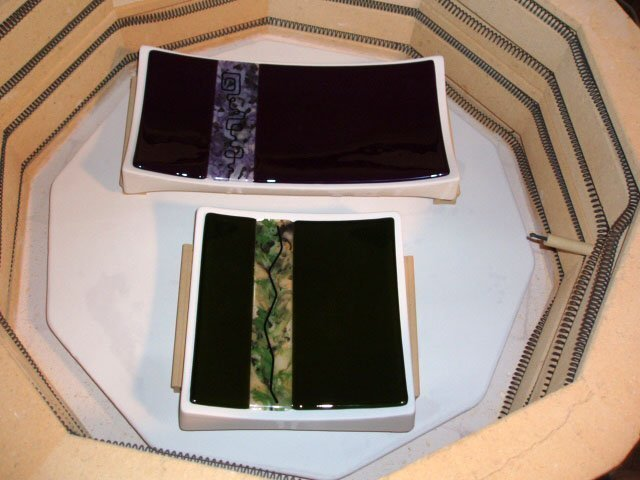 Fused and Slumped glass Sushi trays by Artist Michelle Copeland at ThistleGlass.com