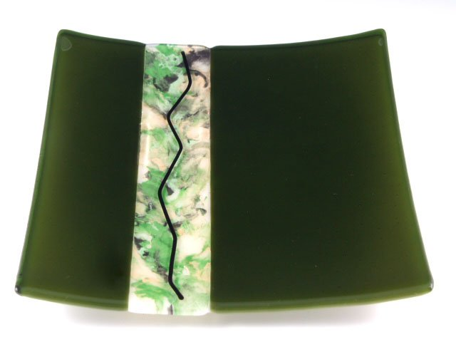 Fused Glass Dawn Green, 8 inch Sushi - Designed by Michelle Copeland at ThistleGlass.com