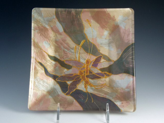 Verre Eglomise Glass Tray - Designed by Artist Michelle Copeland at ThistleGlass.com