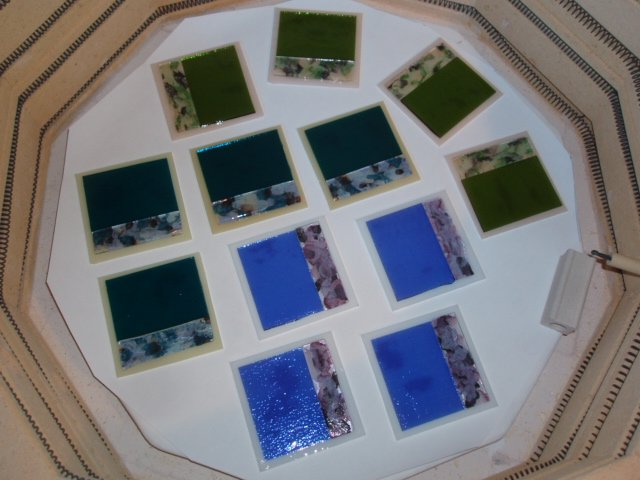Loading the Kiln with glass coasters by Artist Michelle Copeland at ThistleGlass.com