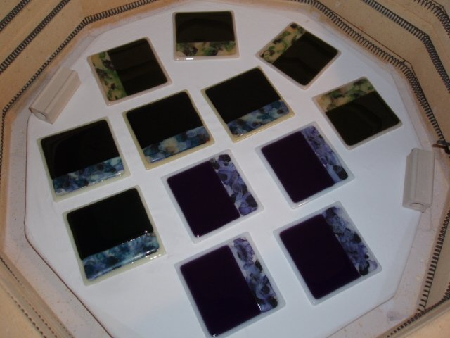 Finished fused glass coasters by Artist Michelle Copeland at ThistleGlass.com