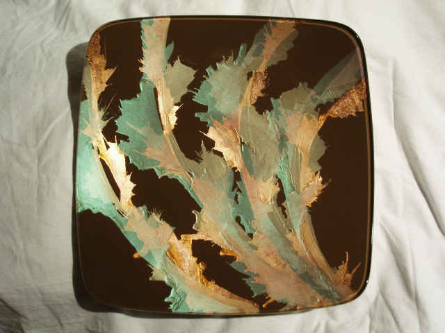 Verre Eglomise Glass Tray Designed by Artist Michelle Copeland at ThistleGlass.com