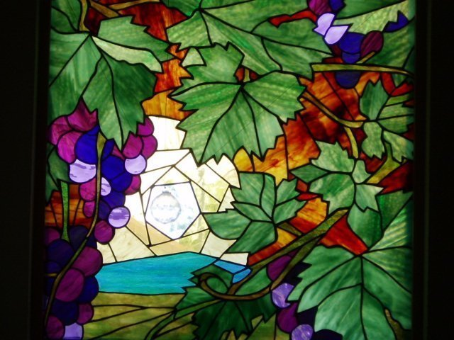 Grape Sunset Stained Glass Window installation, 4 ft. x 4 ft. - Designed by Artist Michelle Copeland