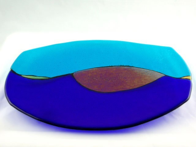 Ocean Blue Fused Glass Tray - Designed by Michelle Copeland at ThistleGlass.com