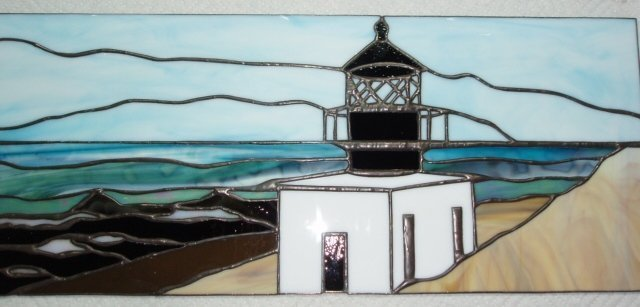Custom Lighthouse Stained Glass Window - Designed by Artist Michelle Copeland