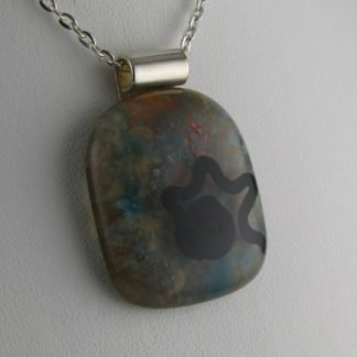 Soft Sketch, fused glass necklace designed by Michelle Copeland at ThistleGlass.com