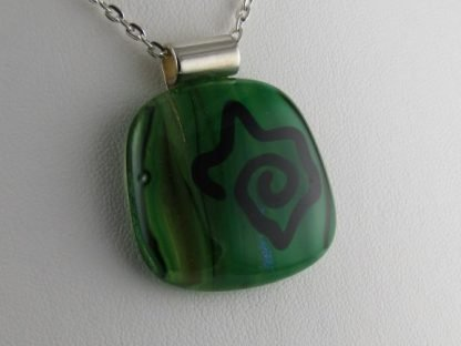 Kiwi Sketch, blown and fused glass necklace designed by Michelle Copeland at ThistleGlass.com