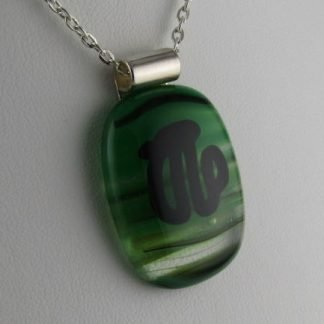 Kiwi Sketch I, blown and fused glass necklace designed by Michelle Copeland at ThistleGlass.com