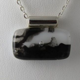 Smoke, fused glass necklace designed by Michelle Copeland at ThistleGlass.com