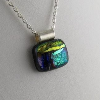 Playhouse Whimsy II, Dichroic Fused Glass Necklace Designed by Michelle Copeland at ThistleGlass.com