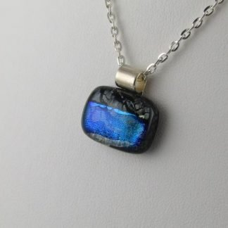 Blue-Green Playhouse II, Dichroic Fused Glass Necklace Designed by Michelle Copeland at ThistleGlass.com