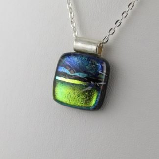 Playhouse Whimsy Dichroic Fused Glass Necklace Designed by Michelle Copeland at ThistleGlass.com