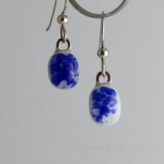 Cobalt Crush Earrings II, Fused Glass by Michelle Copeland at www.ThistleGlass.com