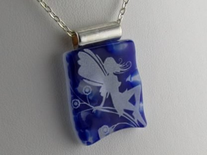 Cobalt Faerie, fused glass necklace designed by Michelle Copeland at ThistleGlass.com