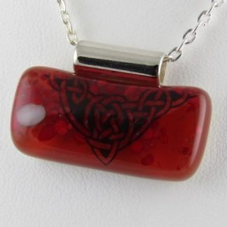 Red Celtic I, fused glass necklace designed by Michelle Copeland at ThistleGlass.com
