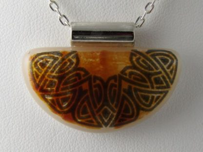 Celtic Knot, fused glass necklace designed by Michelle Copeland at ThistleGlass.com