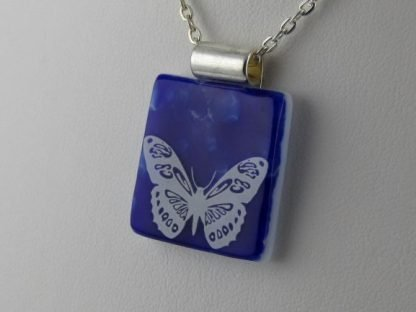 Cobalt Butterfly, fused glass necklace designed by Michelle Copeland at ThistleGlass.com