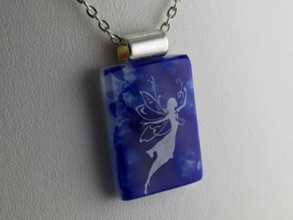 Cobalt Faerie II, fused glass necklace designed by Michelle Copeland at ThistleGlass.com