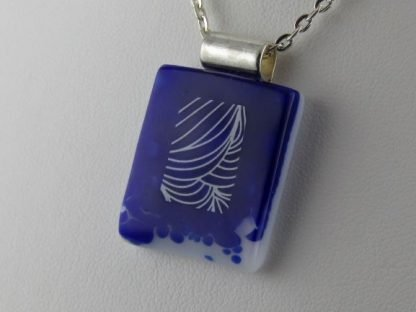 Cobalt Lines, fused glass necklace designed by Michelle Copeland at ThistleGlass.com