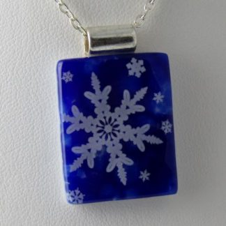 Cobalt Snowflakes, fused glass necklace designed by Michelle Copeland at ThistleGlass.com