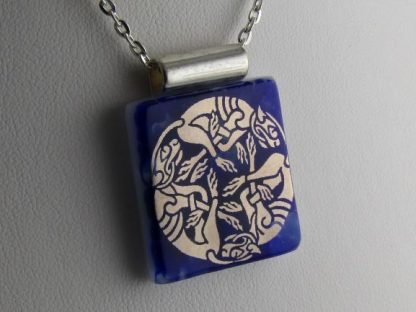 Cobalt Celtic, fused glass necklace designed by Michelle Copeland at ThistleGlass.com