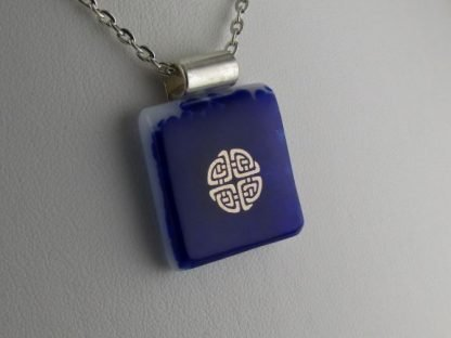 Cobalt Celtic Knot, fused glass necklace designed by Michelle Copeland at ThistleGlass.com