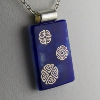 Cobalt Celtic Knots, fused glass necklace designed by Michelle Copeland at ThistleGlass.com